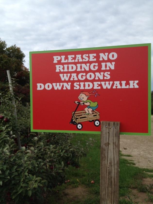 wagons down sidewalk